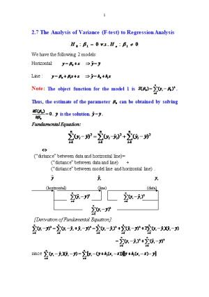 2.7 the Analysis of Variance (F-Test) to Regression Analysis