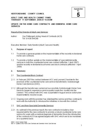 Adult Care and Health Cabinet Panel 11 September 2008 Item 5 Update on the Home Care Contracts