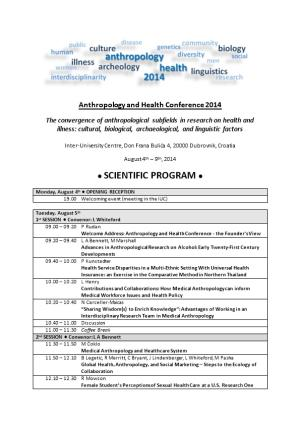 Anthropology and Health Conference 2014