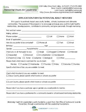 APPLICATION FORM for POTENTIAL ADULT MENTORS