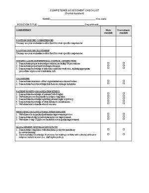 Competence Assessment Checklist