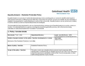 Equality Analysis Radiation Protection Policy