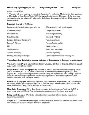 Evolutionary Psychology (Psych 459) Study Guide/Questions Exam 1 Spring 2012