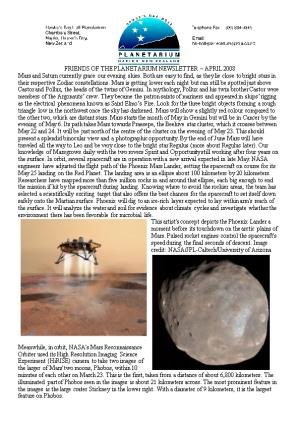 Friends of the Planetarium Newsletter April 2008