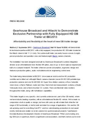 Gearhouse Broadcast and Hitachi to Demonstrate Exclusive Partnership with Fully Equipped