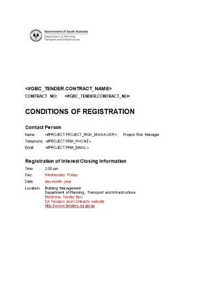 General Conditions of Tendering