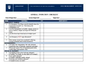 General Inspection Checklist