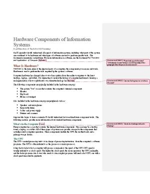 Hardware Components of Information Systems