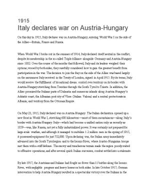 Italy Declares War on Austria-Hungary