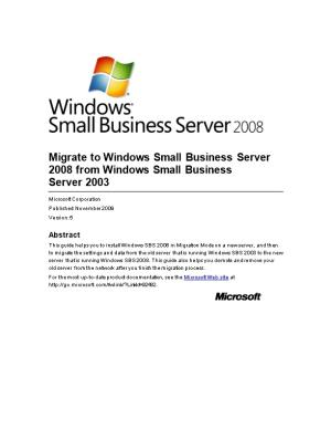 Migrate to Windows Small Business Server 2008 from Windows Small Business Server2003