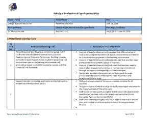 Optional Principal Professional Development Plan Template