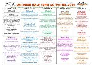 Pony Club Achievement Badge Timetable October Half Term 2014