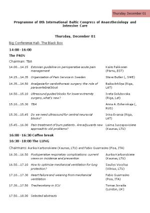 Program of 5Th International Baltic Congress of Anaesthesiology and Intensive Care