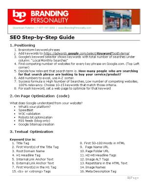 SEO Step-By-Step Guide