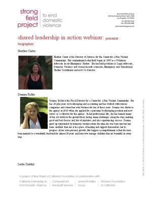Shared Leadership in Action Webinar: Presenter Biographies