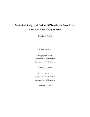 Statistical Analysis of Sediment Phosphorus from Silver Lake and Lake Casey in 2002