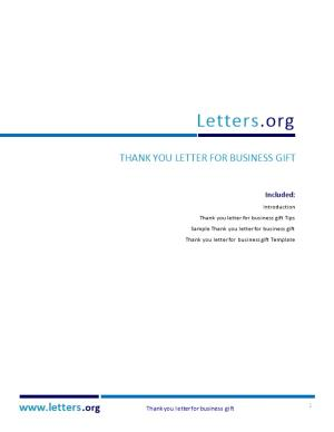 Thank You Letter for Business Gift