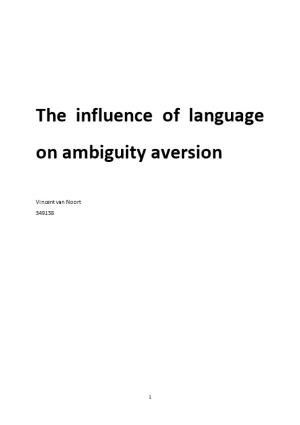 The Influence of Language on Ambiguity Aversion